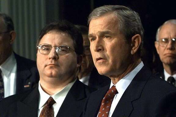 President George W. Bush speaks after signing executive orders on Jan. 29, 2001.