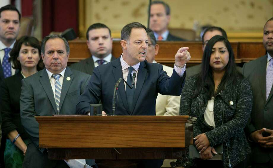 State Rep. Rafael Anchia, D-Dallas, speaks against SB 4, the 'sanctuary cities' bill, in the House Chamber. He said at a press conference July 18, 2017 that lawmakers should use the special session to highlight the ways SB 4 hurts people. Photo: Jay Janner, MBO / Austin American-Statesman