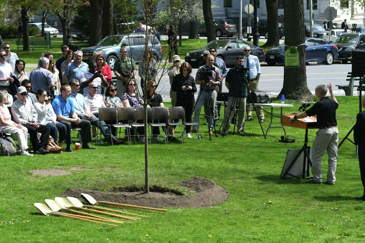 State DEC Commissioner Basil Seggos speaks during an Arbor Day celebration in East Capitol Park where a tree was planted to mark the occasion on Friday, April 28, 2017, in Albany, N.Y. (Will Waldron/Times Union)
