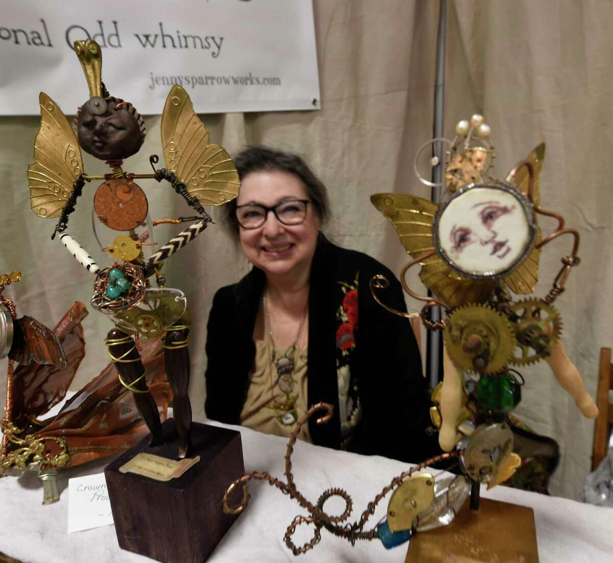 Whimsy is a perfect description of Deborah Jackson's Sculptures from the Jenny Sparrow Works of Troy as the Collar City Craft Fest opens at the Arts Center of the Capital Region Friday April 28, 2017 in Troy, N.Y. (Skip Dickstein/Times Union)