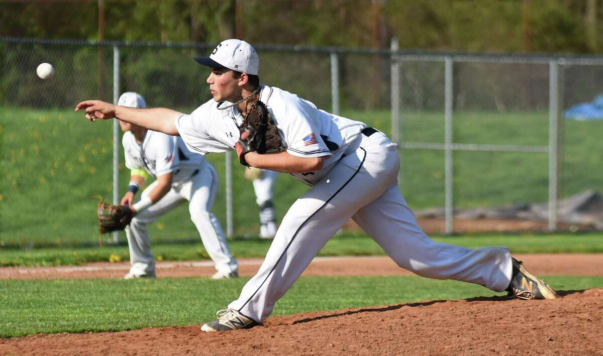 Staples pitcher George Goldstein fires to the plate during Friday's 13-3 win over Brien McMahon in Westport.