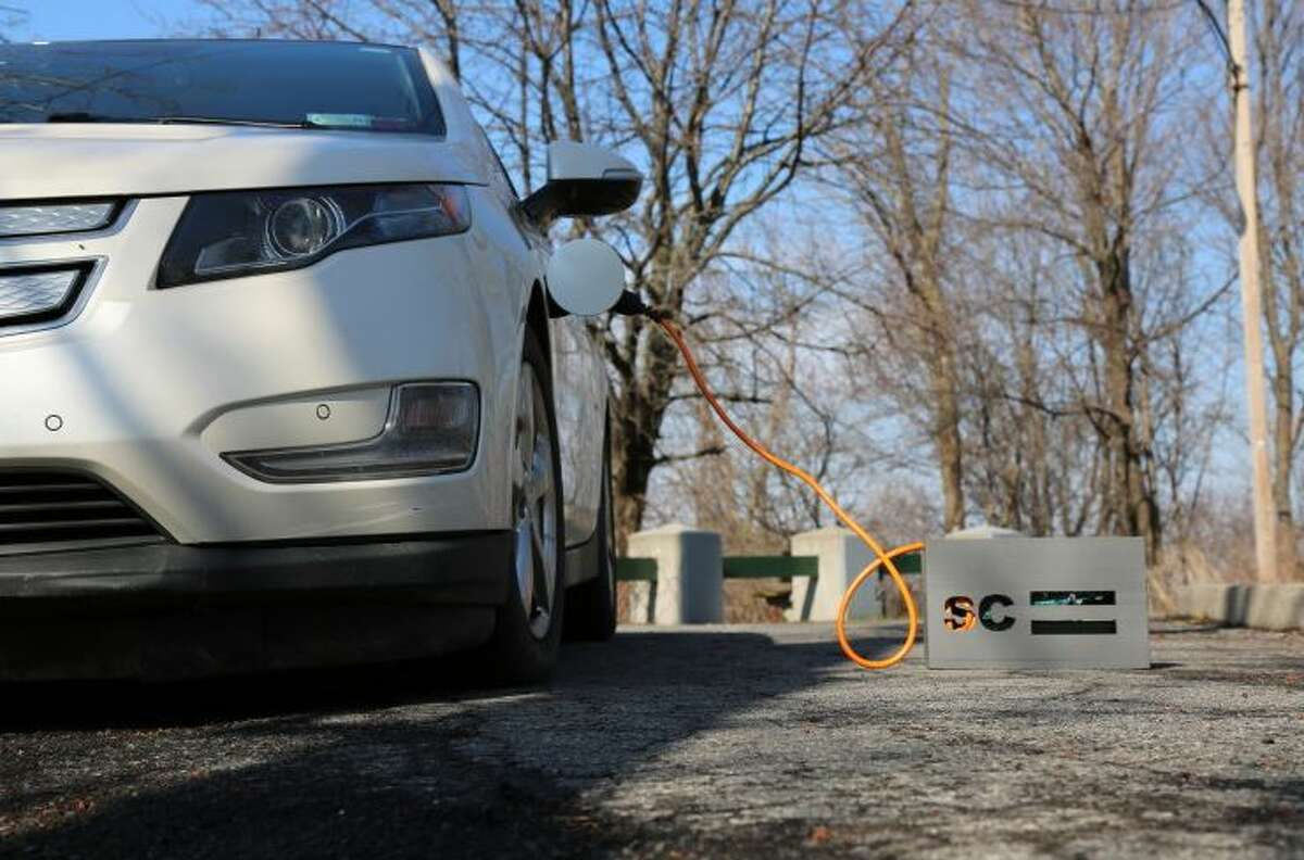 SparkCharge has developed a portable charging station for electric vehicles.