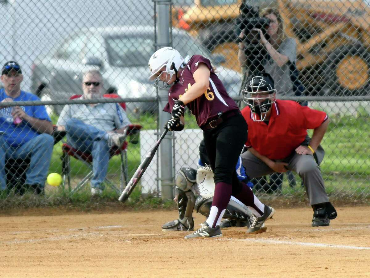 Colonie's Darianna Resciniti (6) bats against Shaker during a Section II Class AA high school softball game in Colonie, N.Y., Friday, April 28, 2017. (Hans Pennink / Special to the Times Union) ORG XMIT: HP122
