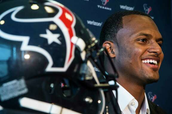 Texans' top draft pick and No. 12 overall, Clemson quarterback Deshaun Watson, on Friday is introduced to the media at NRG Stadium.
