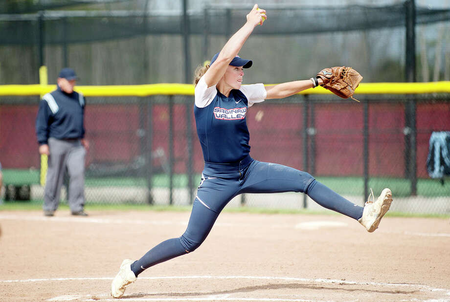 BRITTNEY LOHMILLER | blohmiller@mdn.net Saginaw Valley State's Sam Willman pitches against Northwood University in Friday's doubleheader at SVSU. / Midland Daily News