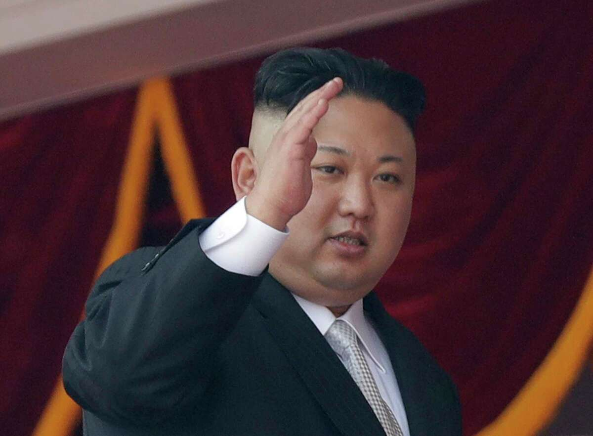 FILE - In this April 15, 2017 file photo, North Korean leader Kim Jong Un waves during a military parade in Pyongyang, North Korea to celebrate the 105th birth anniversary of Kim Il Sung, the country's late founder and grandfather of current ruler Kim Jong Un. A North Korean mid-range ballistic missile apparently failed shortly after launch Saturday, April 29, South Korea and the United States said, the second such test-fire flop in recent weeks but a clear message of defiance as a U.S. supercarrier conducts drills in nearby waters. (AP Photo/Wong Maye-E, File) ORG XMIT: TKMY101
