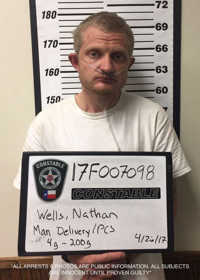 Nathan Wells, 34, was arrested after he was pulled over for speeding and a police officer found 122 grams of methamphetamine in his truck. Photo: Montgomery County Sheriff's Office