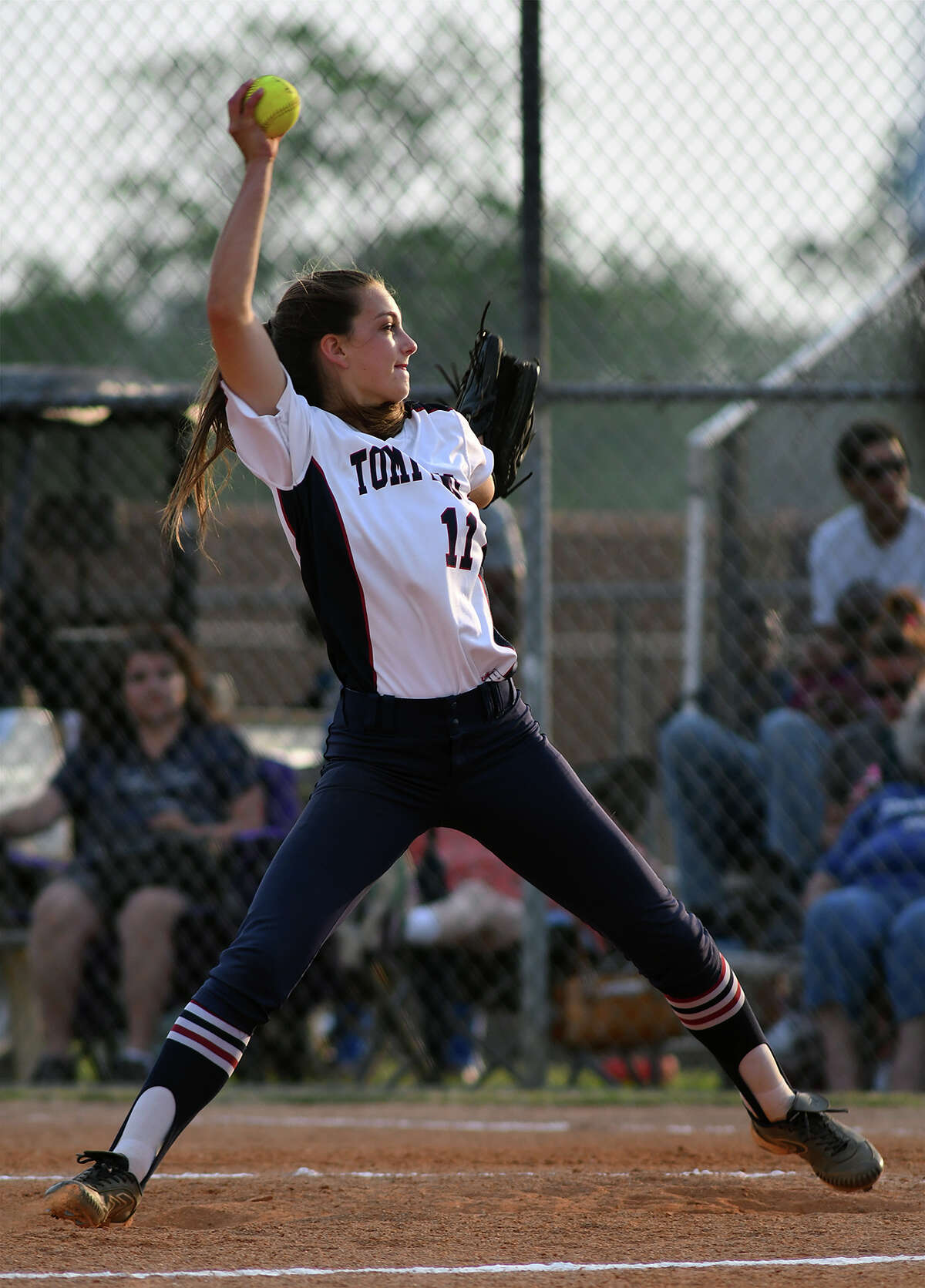 Tompkins junior pitcher Sydney Hodge works to a Kempner hitter in the bottom of the 6th inning of game two of their Region III-6A Bi-District Softball playoff series match-up at Kempner High School on Friday, April 28, 2017. (Photo by Jerry Baker/Freelance)