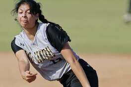 East Central's Bella Saldivar pitches against O'Connor during Game 2 of their Class 6A bidistrict series held Friday April 28, 2017 at Northside Field No. 2. East Central won 9-5.