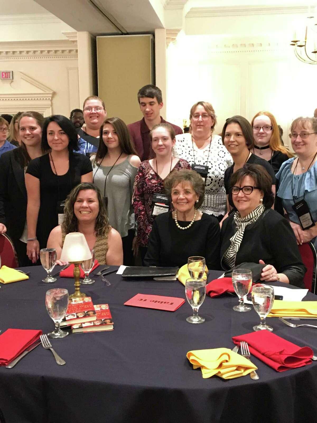 Matilda Raffa Cuomo, center, receives the Liberty Partnerships Program Lifetime Achievement Award Friday night in Colonie. (Photo provided)