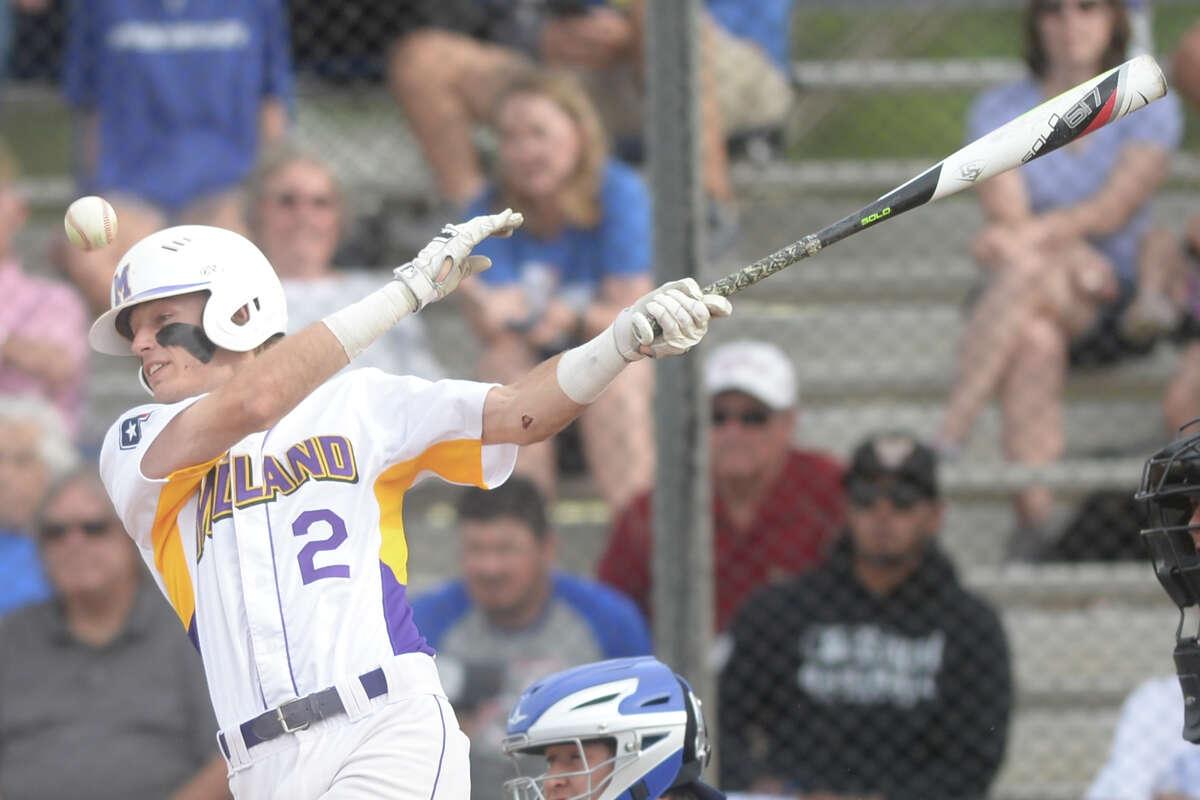 Midland High's Tyler Wade (2) hits against Frenship on April 28, 2017, at Zachery Field. James Durbin/Reporter-Telegram