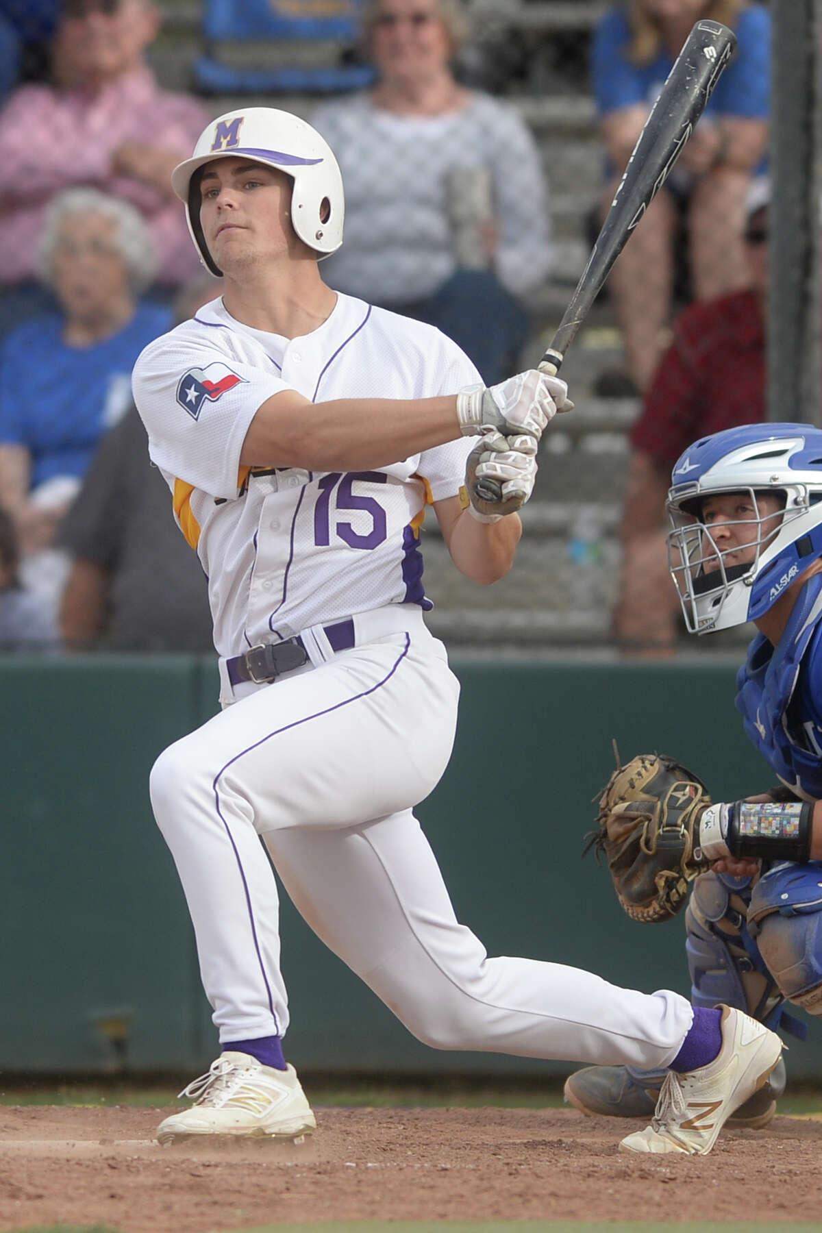 Midland High's Jackson Anuszkiewicz (15) bats against Frenship on April 28, 2017, at Zachery Field. James Durbin/Reporter-Telegram