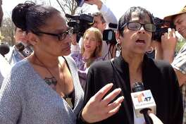 Evelyn Rodriguez, right, and Elizabeth Alvarado, left, speak with reporters outside the U.S. District Courthouse in Central Islip, N.Y., on Friday, April 28, 2017. The women are the mothers of Kayla Cuevas (Rodriguez's daughter) and Nisa Mickens (Alvarado's daughter), two teenagers who were beaten and slashed to death in September 2016 in a suspected MS-13 gang killing in Brentwood, N.Y. They met Friday with U.S. Attorney General Jeff Sessions to discuss efforts to stem gang violence in their Long Island community. (AP Photo/Frank Eltman) ORG XMIT: RPFE102