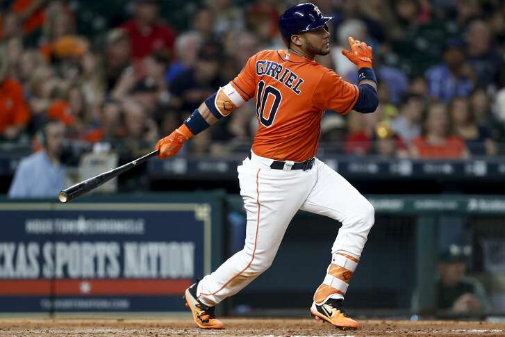 Houston Astros first baseman Yuli Gurriel (10) hits a double during the fifth inning as the Houston Astros take on the Oakland Athletics at Minute Maid Park Friday, April 28, 2017 in Houston. ( Michael Ciaglo / Houston Chronicle)