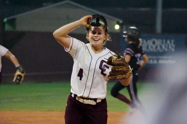 Clear Creek's Megan Lee (4) reacts after defeating Pearland Friday, Apr. 28 at Pearland High School.