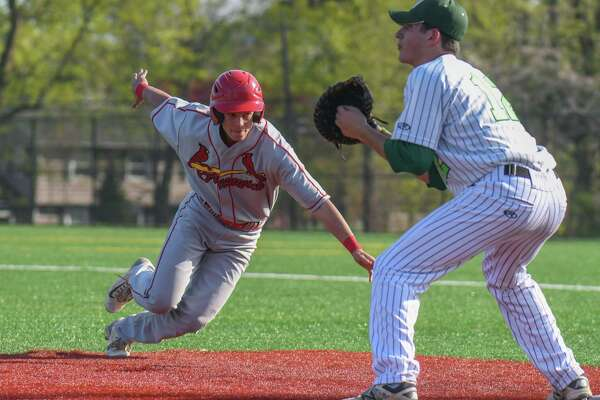 FCIAC baseball action between the Norwalk Bears and the Greenwich Cardinals at Nathan Hale Middle School on April 28, 2017 in Norwalk, Connecticut.