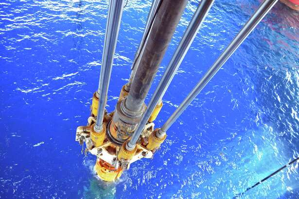 "Drilling equipment passes through the moon pool on the Maersk Developer in 2014 in the Gulf of Mexico. The Interior Department's Kate MacGregor says she wants ""a vibrant economy in the Gulf."""
