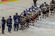 Albany's players shake hands with Toronto players after their triple-overtime contest in Game 4 of their playoff series that ended Albany's 24-year tenure as an American Hockey League city. (Pete Dougherty / Times Union)