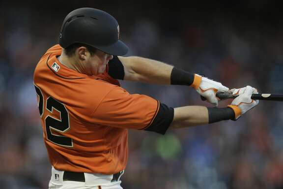 San Francisco Giants' Christian Arroyo swings against the San Diego Padres during a baseball game Friday, April 28, 2017, in San Francisco. (AP Photo/Ben Margot)