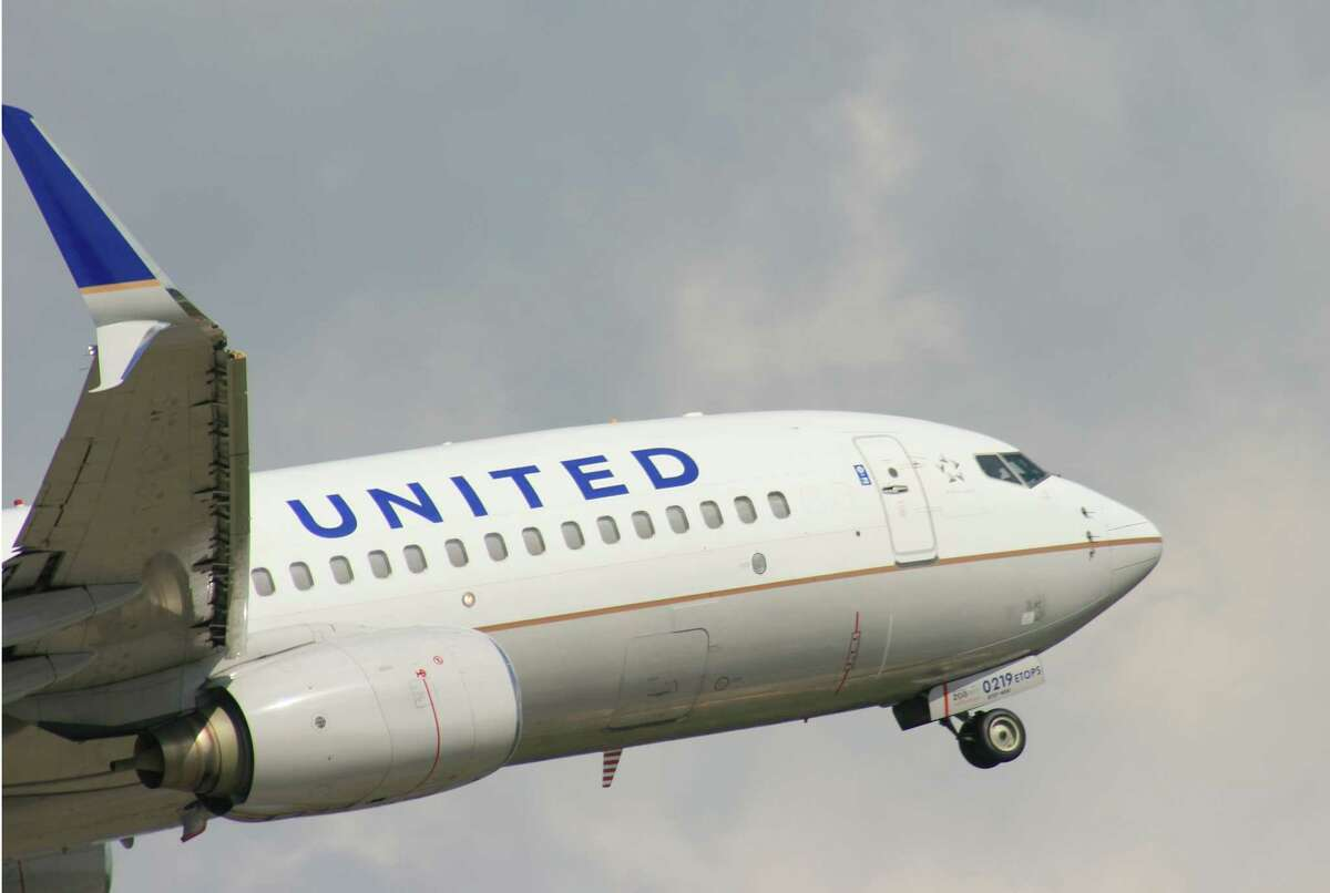A United Airlines Boeing 737 takes off from Bush Intercontinental Airport in  late March 2017.