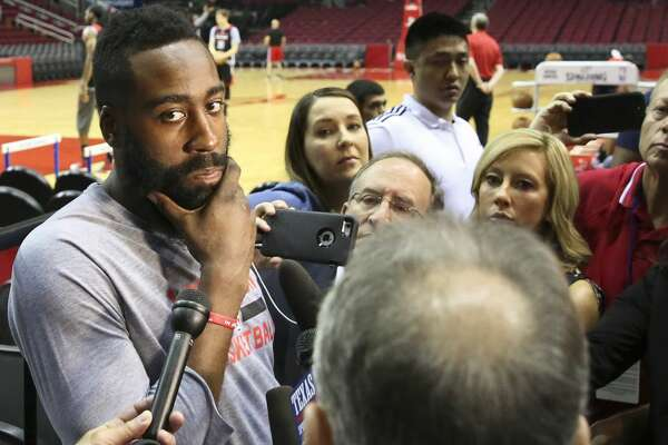 Houston Rockets guard James Harden (13) answers questions during practice at Toyota Center Friday, April 28, 2017, in Houston. ( Yi-Chin Lee / Houston Chronicle )