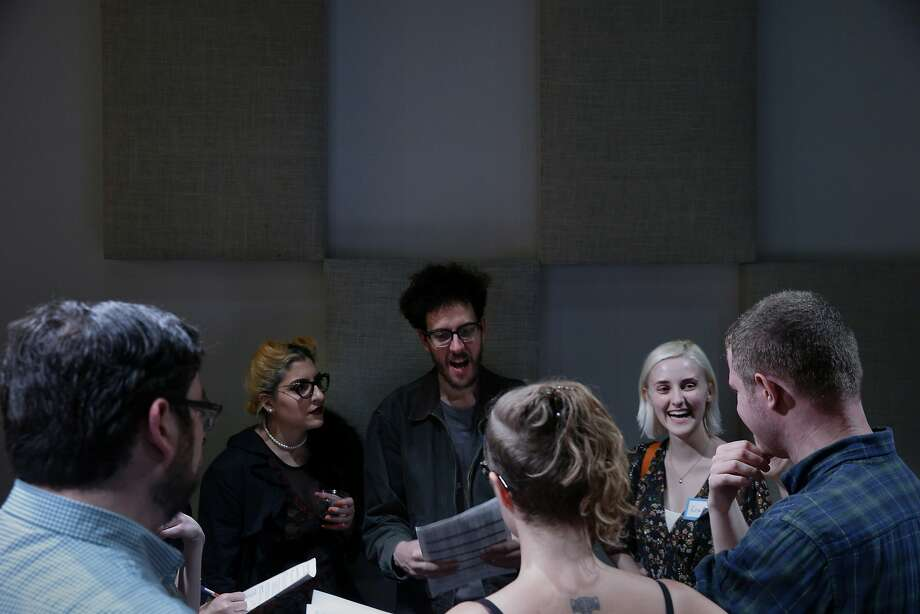 From right: Brian Fitzsousa, Reagan Shrum, Allie Mazon and Adrian Vasquez rehearse with their team for the 48-Hour Opera Festival on Friday, April 28, 2017, in San Francisco, Calif. Photo: Santiago Mejia, The Chronicle