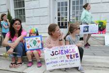 The Children's Environmental March at Greenwich Town Hall, Greenwich, Conn., Saturday morning, April 29, 2017. The gathering of the young environmentalists and their families coincided with the People's Climate March that was taking place in Washington, D.C.