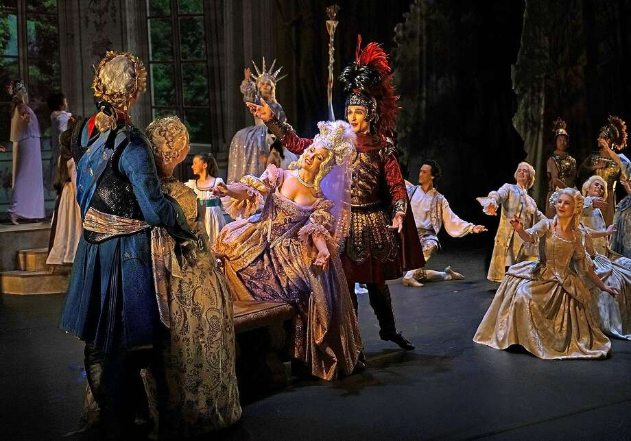 """Aaron Sheehan as Trajan (left), Gabrielle Philiponet as Plautine, Meggi Sweeney Smith as Venus and Andrew Trego as Mars with the cast in """"The Temple of Glory"""" by Rameau. Photo: Frank Wing"""