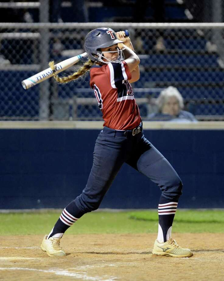 Kaitlinn Kinslow (10) of Tompkins hits a two RBI double in the fourth inning of a bi-district playoff softball game between the Tompkins Falcons and the Kempner Cougars on Friday April 21, 2017 at Tompkins HS, Katy, TX. Photo: Craig Moseley, Staff / ©2017 Houston Chronicle