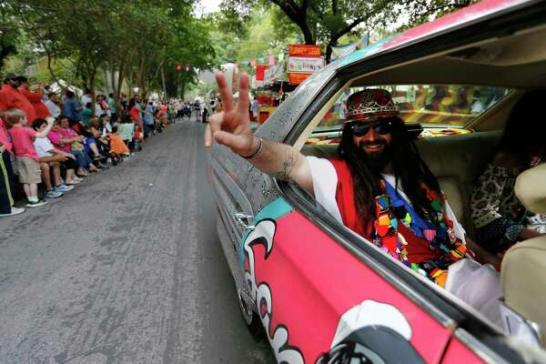 """""""Spurs Jesus"""" blesses the parade during the 2017 King William Fair on Saturday, Apr. 29, 2017."""