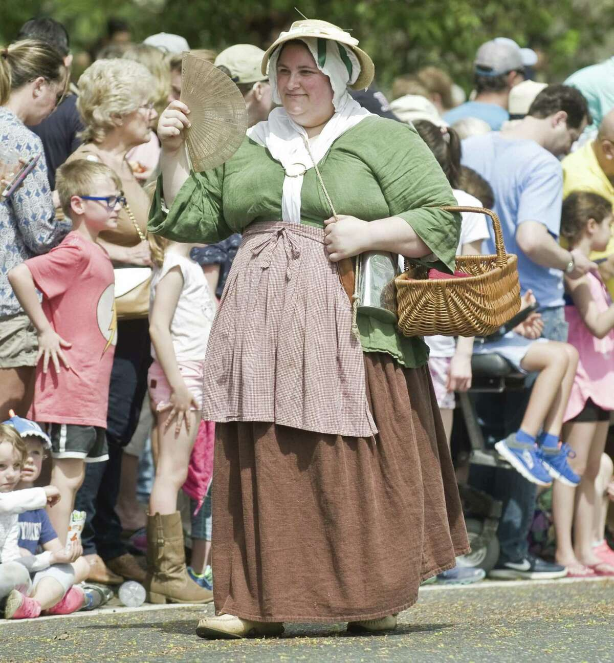 Cindy Wolf of the 5th New York Regiment walks along Main Street prior to the Battle of Ridgefield. Saturday, April 29, 2017