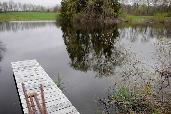 A view of the original irrigation pond at 9 Mile Farm on Thursday, April 27, 2017, in Delmar, N.Y.  Last summer the pond ran down to where the farm had no running water.   (Paul Buckowski / Times Union)