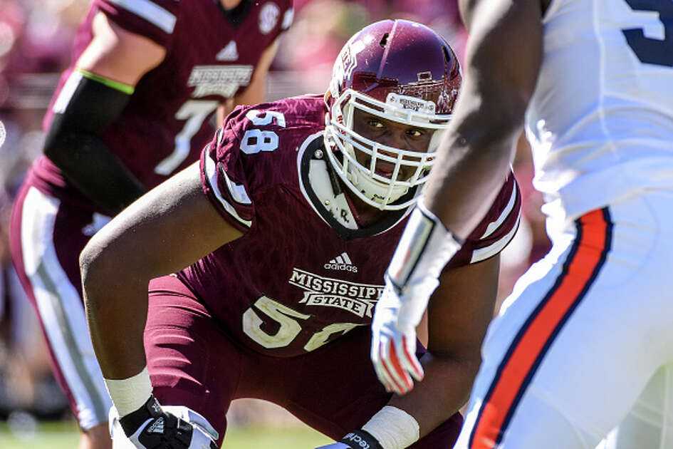 08 October 2016: Mississippi State Bulldogs offensive lineman Justin Senior (58) during the Auburn Tigers 38-14 win over the Mississippi State Bulldogs game at Davis Wade Stadium in Starkville, Mississippi.  (Photo by Andy Altenburger/Icon Sportswire via Getty Images).