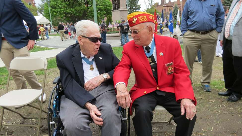 Medal of Honor recipients Francis S. Currey of Selkirk, left, and Hershel ?Woody? Williams at the Gold Star Families Monument dedication in Lafayette Park in Albany, N.Y. on Saturday, April 29, 2017. (Thomas Heffernan Sr./Times Union)