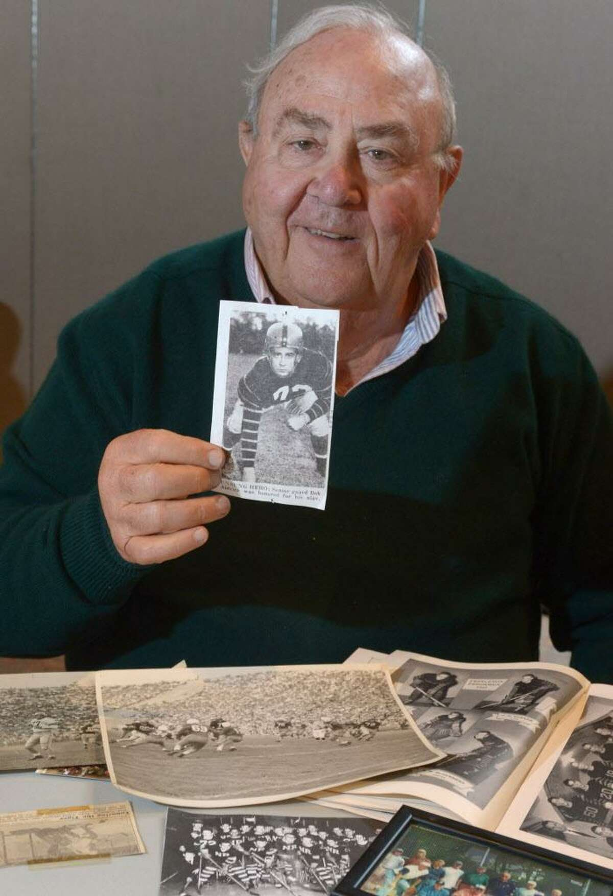 Norwalk resident Bob Aldrich, now in his 80s, reminisces about his days as a Princeton University hockey and football player, Wednesday, April 17, 2017, at the United Church of Rowayton in Norwalk, Conn.