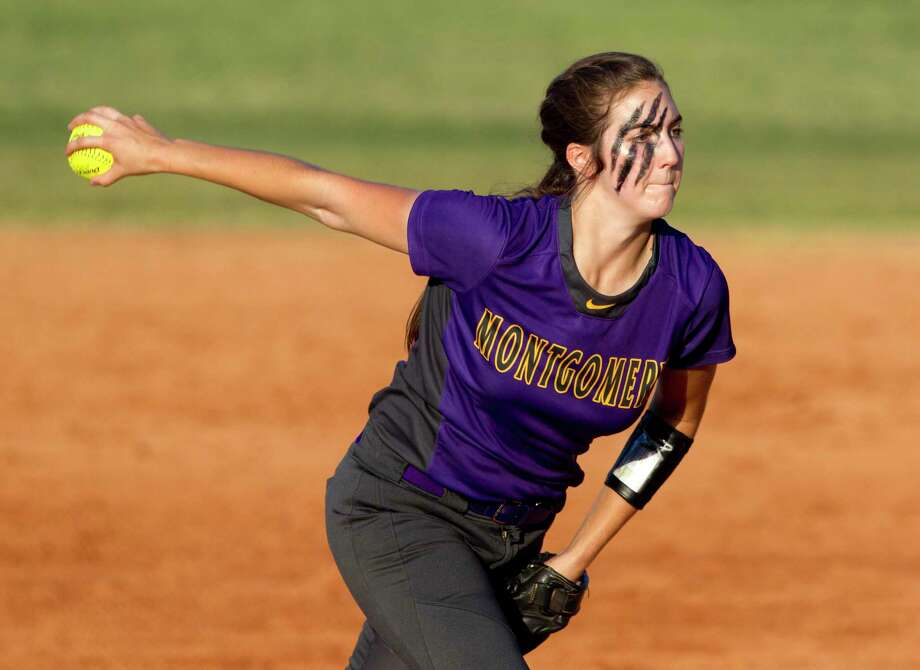 Montgomery starting pitcher Piper Maguire (11) throws during the first inning of a District 12-6A high school softball game, Wednesday, April 19, 2017, in Conroe. Photo: Jason Fochtman, Staff Photographer / © 2017 Houston Chronicle