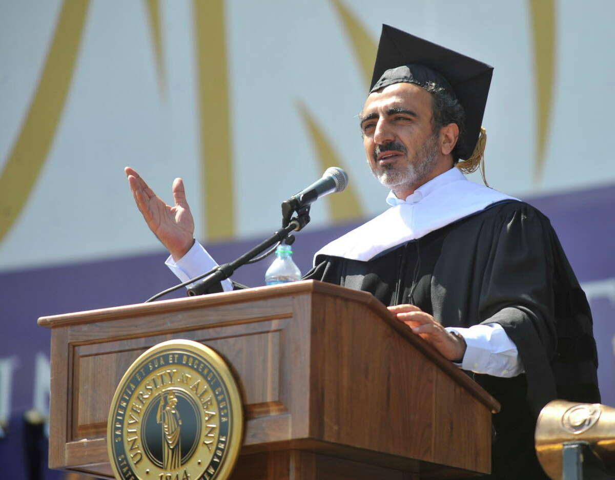 University at Albany commencement speaker Hamdi Ulukaya, Founder & CEO, of Chobani during the undergraduate commencement exercises in Albany, N.Y., Sunday, May 18, 2014. Chobani could be taken public soon with a $10 billion valuation. (Hans Pennink / Special to the Times Union) ORG XMIT: HP112