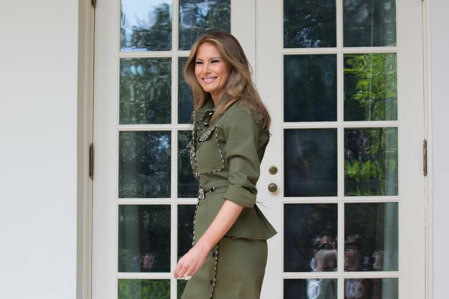 First Lady Melania Trump walks through the West Wing Colonnade to the Oval office, of the White House in Washington, DC, on Thursday, April 27, 2017.Keep clicking to see every outfit worn by the First Lady during President Trump's first 100 days in office. Photo: NurPhoto/NurPhoto Via Getty Images