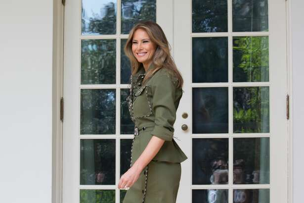 First Lady Melania Trump walks through the West Wing Colonnade to the Oval office, of the White House in Washington, DC, on Thursday, April 27, 2017. (Photo by Cheriss May/NurPhoto via Getty Images)
