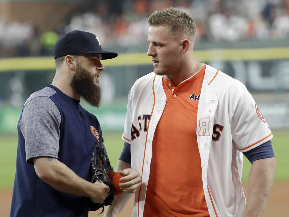 Astros ace Dallas Keuchel (left) is hoping to avoid the same misfortune suffered by Texans star J.J. Watt last season. Photo: David J. Phillip/Associated Press