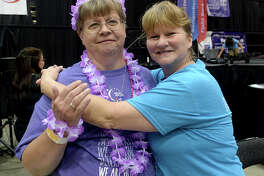 Debra Williamson and Sally Bertrand were at the American Cancer Society Relay for Life event at the Beaumont Civic Center Saturday. Teams dressed up, taking their turns making laps through the center as they walked for a cure. A number of organizations offered gifts and crafts at their booths, and musical entertainment was held onstage throughout the day and night. Photo taken Saturday, April 29, 2017 Kim Brent/The Enterprise
