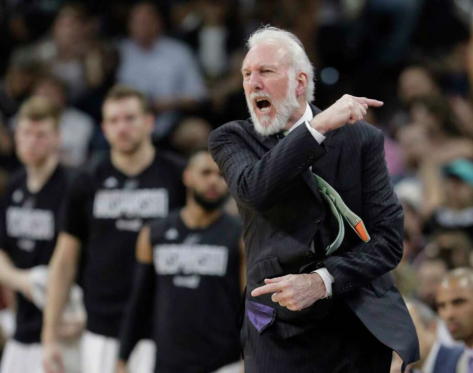 San Antonio Spurs head coach Gregg Popovich argues a call during the first half of Game 5 in a first-round NBA basketball playoff series against the Memphis Grizzlies, Tuesday, April 25, 2017, in San Antonio. (AP Photo/Eric Gay) Photo: Eric Gay, STF / Copyright 2017 The Associated Press. All rights reserved.