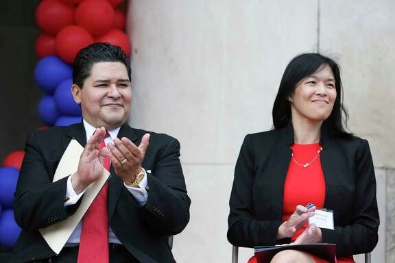 HISD Superintendent Richard Carranza, shown with board of education trustee Anne Sung, found success with a similar school improvement plan in San Francisco.