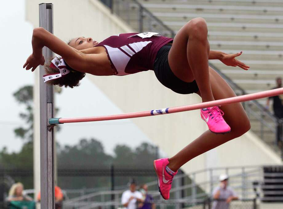 Alex Glover of Magnolia competes in the girls high jump during the Region III-5A track and field championships at Turner Stadium, Saturday, April 29, 2017, in Humble. Photo: Jason Fochtman, Staff Photographer / © 2017 Houston Chronicle
