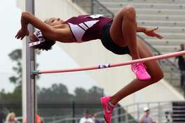 Alex Glover of Magnolia competes in the girls high jump during the Region III-5A track and field championships at Turner Stadium, Saturday, April 29, 2017, in Humble.