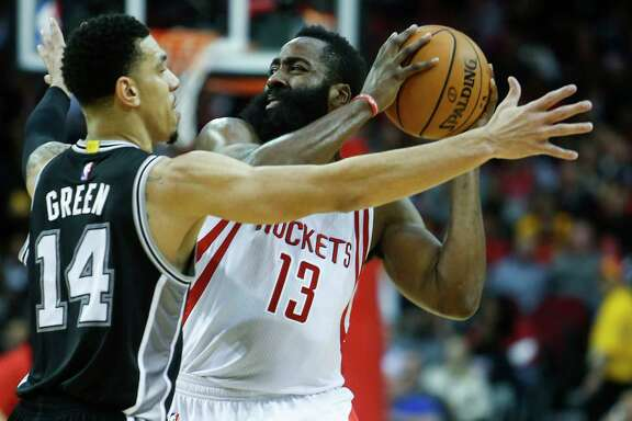 Rockets guard James Harden usually has been matched up with Danny Green, left, in previous games, but Spurs coach Gregg Popovich assigned Kawhi Leonard to guard Harden in a game last month.