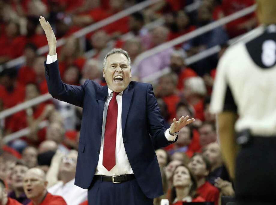 Houston Rockets coach Mike D'Antoni yells at an official during the second half against the Oklahoma City Thunder in Game 5 of an NBA basketball first-round playoff series, Tuesday, April 25, 2017, in Houston. The Rockets won 105-99, knocking the Thunder from the playoffs. (AP Photo/David J. Phillip) Photo: David J. Phillip, STF / Associated Press / Copyright 2017 The Associated Press. All rights reserved.