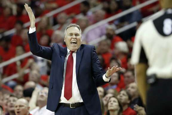 Houston Rockets coach Mike D'Antoni yells at an official during the second half against the Oklahoma City Thunder in Game 5 of an NBA basketball first-round playoff series, Tuesday, April 25, 2017, in Houston. The Rockets won 105-99, knocking the Thunder from the playoffs. (AP Photo/David J. Phillip)