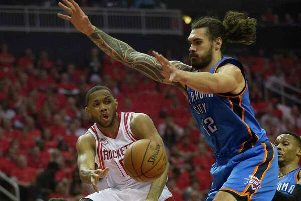 Guard Eric Gordon, left, here delivering a pass under the arms of Thunder center Steven Adams, hopes the Rockets sustain a fast pace against the Spurs.