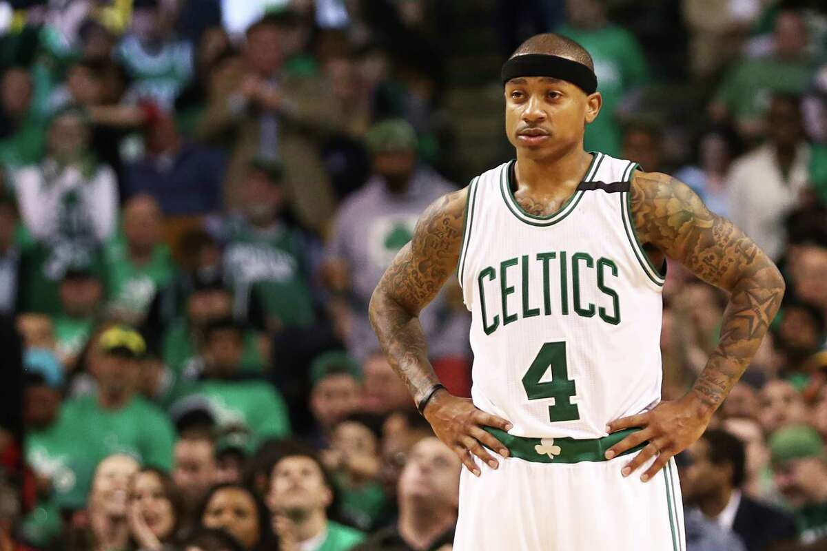 BOSTON, MA - APRIL 18: Isaiah Thomas #4 of the Boston Celtics looks on during the third quarter of Game Two of the Eastern Conference Quarterfinals against the Chicago Bulls at TD Garden on April 18, 2017 in Boston, Massachusetts. NOTE TO USER: User expressly acknowledges and agrees that, by downloading and or using this Photograph, user is consenting to the terms and conditions of the Getty Images License Agreement. (Photo by Maddie Meyer/Getty Images) ORG XMIT: 700034555